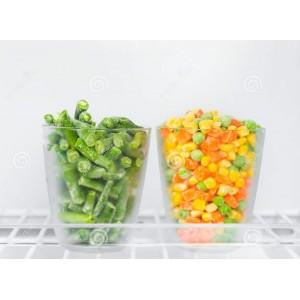 Vegetales congelados (zanahoria orgánica, vainica y maíz dulce)